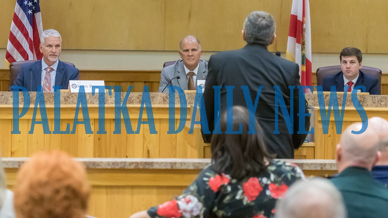 School Board Superintendent Rick Surrency tells the Putnam Delegation about the school district's progress and needs at their meeting on Wednesday afternoon. Fran Ruchalski/Palatka Daily News
