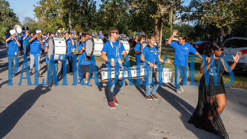 The Interlachen High School Ram Band kept all the marchers in time as they marched down Boyleston Street on Thursday evening. Fran Ruchalski/Palatka Daily News