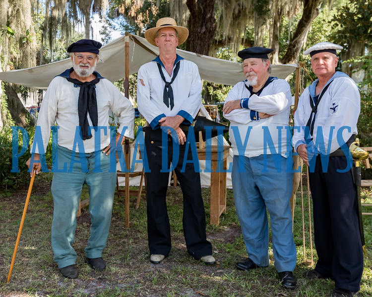Several sailors stand for a photo on the front lawn of the Bronson-Mulholland House at Occupation Palatka on Saturday morning. Fran Ruchalski/Palatka Daily News