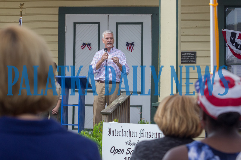Senator Keith Perry delivers a message about our freedoms to kick off the Independence Day Celebration in Interlachen. Fran Ruchalski/Palatka Daily News