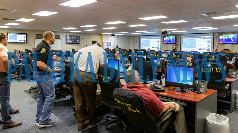 Local officials gather at the Emergency Operations Center for a briefing on Hurrican Dorian Thursday afternoon. Fran Ruchalski/Palatka Daily News