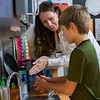 SJRSC nursing student Cheryl Jackson demonstrates proper hand-washing technique to third-grader Preston Smith at Kelley Smith Elementary School. Fran Ruchalski/Palatka Daily News