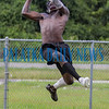 Crescent City Raiders Kevin Williams goes up to snag a long pass during practice on Tuesday afternoon. Fran Ruchalski/Palatka Daily News