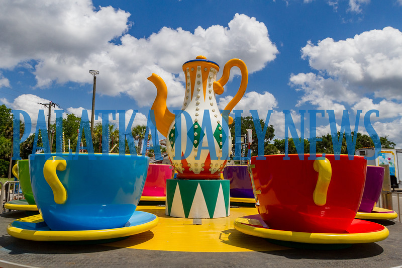 The Teacup ride appears to be fully-assembled and ready to welcome riders at the Blue Crab Festival. Fran Ruchalski/Palatka Daily News