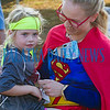 Before the Beck 5K got underway, five-year-old Elizabeth Waldren wanted to meet her favorite superhero, Supergirl (Skye Sauls) who would also be running in the race. Fran Ruchalski/Palatka Daily News