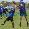Interlachen Rams William Cruz (23) tries to pull in a pass overThomas Mack (4) as the defensive backs went up against receivers at the first preseason practice on Monday morning. Fran Ruchalski/Palatka Daily News