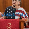 Rev. Jesten Peters gives the final remarks of the Cry Out America 9/11 Prayer Gathering at St. James Methodist Church at noon Wednesday with a story about the future of America if we're too busy to make things right. Fran Ruchalski/Palatka Daily News