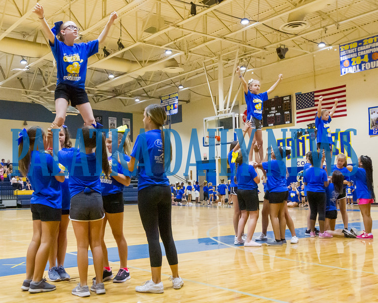 Palatka High School put on their annual cheer camp this week. Held each summer, the camp is organized and coached by the Palatka Cheer team to teach kids in kindergarten through 8th grade the ins and outs of successful cheerleading. Fran Ruchalski/Palatka Daily News