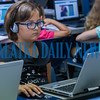 Ten-year-old Cora Landis uses coding information to control the movements of on-screen characters at the Generation Mars: Technology Training Camp at the Palatka lbrary on Monday afternoon. Fran Ruchalski/Palatka Daily News