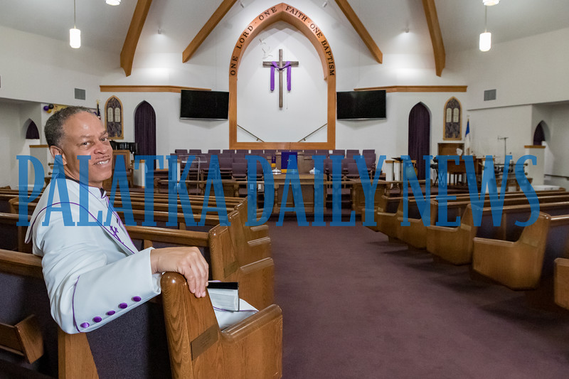 Pastor Karl Flagg sits in a pew in the sanctuary of Mount Tabor First Baptist Church on Friday morning. Fran Ruchalski/Palatka Daily News