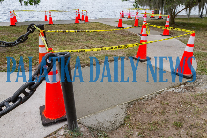 New concrete has been poured to replace some bad spots in the walkway at the riverfront in advance of the Blue Crab Festival. Fran Ruchalski/Palatka Daily News