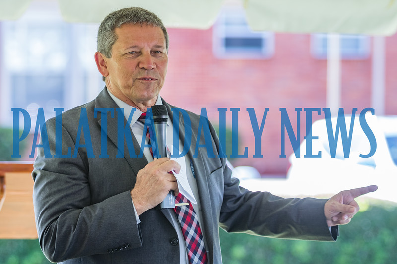 School board superintendent Rick Surrency talks about former superintendent Bill Thomas and his history in the school system at the ceremony for the naming of the William M. Thomas Workforce Center on Husson Avenue Tuesday morning. Fran Ruchalski/Palatka Daily News
