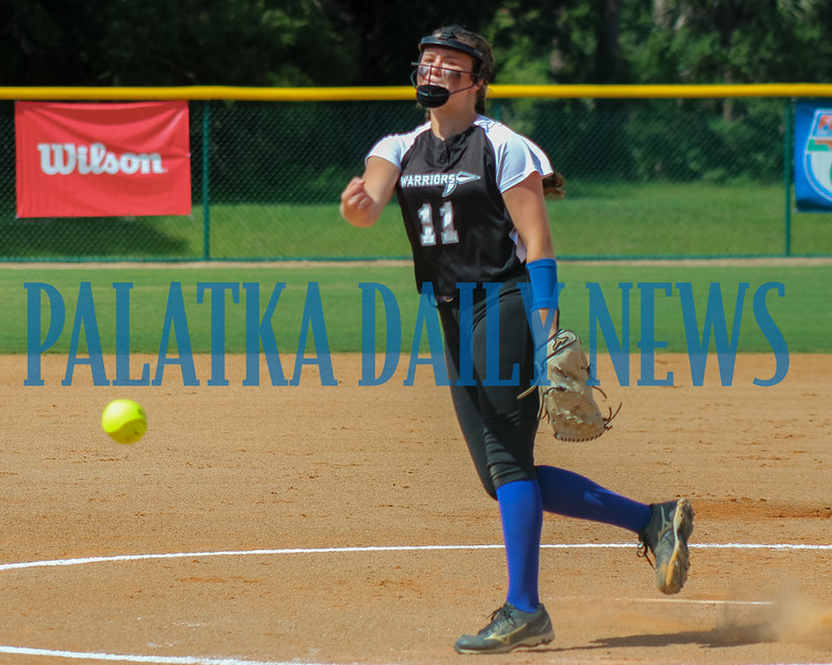 Peniel Baptist Academy pitcher Paige Bryan delivers a first-inning pitch against Academy at the Lakes .Mark Blumenthal/Palatka Daily News