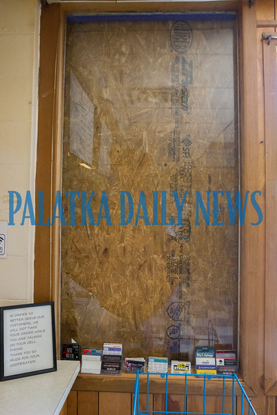 The inside of the plate glass window at Lori's Restaurant on Crill Ave. that a thief broke to get inside to steal the fund raiser jar on the counter. Fran Ruchalski/Palatka Daily News