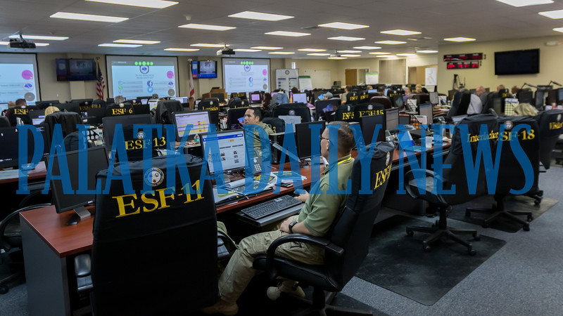 The once empty seats in the Putnam County emergency operations center are filled as Hurricane Dorian starts to move. Fran Ruchalski/Palatka Daily News