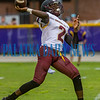 Crescent City senior Naykee Scott (2) launches a long pass in the second quarter for the Raiders in the game against Union County on Friday night in a preseason matchup. Fran Ruchalski/Palatka Daily News