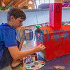 Mason Blevins, 10 works on his version of the First Presbyterian Church for the box city of Palatka. Fran Ruchalski/Palatka Daily News