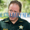 Putnam County Sheriff's Dept. Major Steve Rose answers questions from the media about the drowning of a two-year-old in Melrose Bay on Thursday morning. Fran Ruchalski/Palatka Daily News