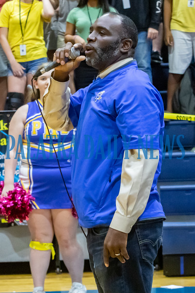 Football head coach Willie Fells gets the crowd going at the PHS Homecoming Pep Rally Friday afternoon. Fran Ruchalski/Palatka Daily News