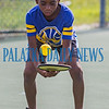 """Ten-year-old Bertram Harrison practices doing """"selfies"""" during the Youth Pickleball Introductory Clinic at the John Theobold Sports Complex on Thursday morning. The clinic was one of several events Putnam County Parks & Recreation organized to celebrate Park and Recreation Month. Fran Ruchalski/Palatka Daily News"""