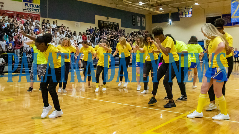 The sophomore class do their thing at the PHS Homecoming Pep Rally Friday afternoon. Fran Ruchalski/Palatka Daily News