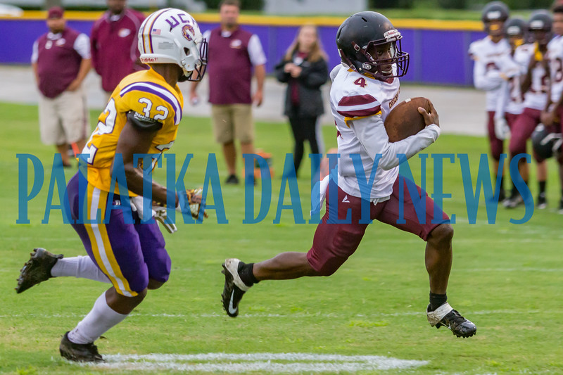 Crescent City sophomore Naykeem Scott (4) breaks a run just short of the goal line in the first quarter in the game against Union County on Friday night in a preseason matchup. Fran Ruchalski/Palatka Daily News