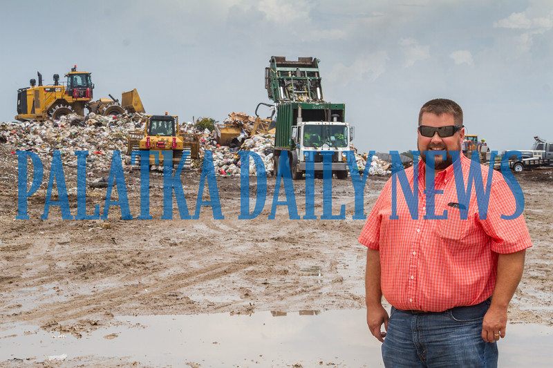 Jay Tilton, Putnam County's Trash Czar stands out in the landfill as the never ending stream of trash is added to the landfill. Fran Ruchalski/Palatka Daily News