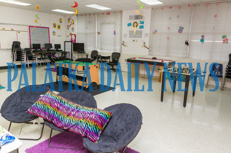 A new student lounge has been installed near the cafeteria to reward student good behavior. The room has gaming areas, fussball, pool, and air hockey for the students to play. Fran Ruchalski/Palataka Daily News