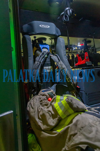 The new Engine 22 has many new features like specially-designed seats which hold firefighters securely and headphones that block excessive noise and also enable them to talk directly with dispatch. Fran Ruchalski/Palatka Daily News