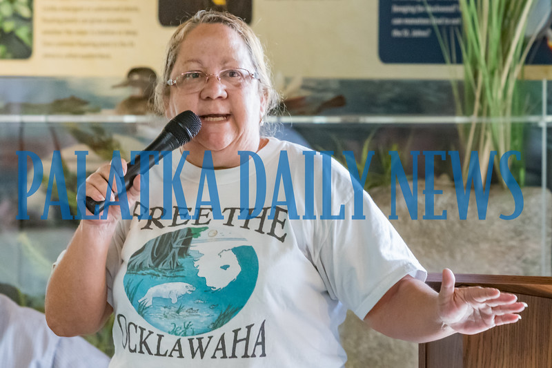 Local resident Tracy Marinella of Florida Defenders of the Environment implores the officials in attendance to review their practices that are impacting our local rivers. Fran Ruchalski/Palatka Daily News