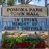 The sign outside the Pomona Park Town Hall reflects the sentiment of many in the area upon hearing of the death of Rodney Sheffield, owner of Hills Hardware. Fran Ruchalski/Palatka Daily News