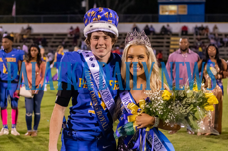 During Friday night's homecoming football game, seniors Sydney Sheffield and Curtis Moore were selected as the Palatka High School homecoming queen and king. Fran Ruchalski/Palatka Daily News