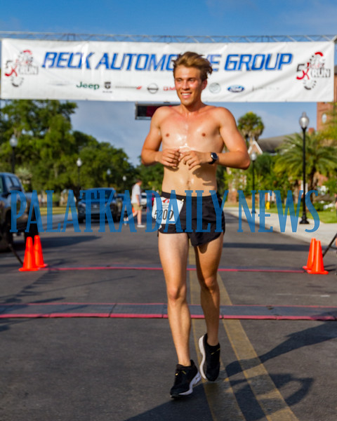 Twenty-year-old Jackson Storey from St. Johns was the first to cross the finish line on the Beck 5K once again. Fran Ruchalski/Palatka Daily News