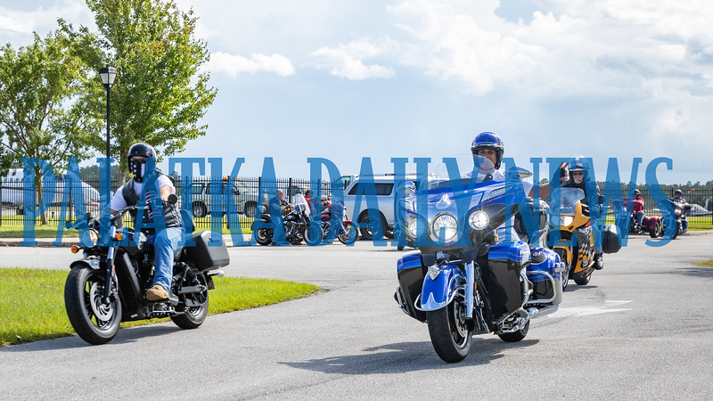 Motorcyclists riding in the first Constant Aviation Fisher House benefit ride pull out of the Palatka Airport on Wednesday afternoon. Fran Ruchalski/Palatka Daily News