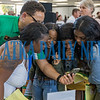 Les Ferrier of Florida A & M University shows a school video to Spenasia Cristopher, 18, from left, Tamia Bryson, 18, Destiny Lewis, 18, and Montalia Heath, 17, at the career fair at Palatka High School Thursday night. Fran Ruchalski/Palatka Daily News