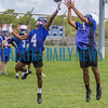 Interlachen Rams Thomas Mack (4) goes up to block a pass to William Cruz (23) as the defensive backs went up against receivers at the first preseason practice on Monday morning. Fran Ruchalski/Palatka Daily News
