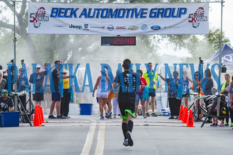 What it looks like when you're just about to cross the finish line at the Beck 5K on Saturday morning. Fran Ruchalski/Palatka Daily News