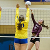Crescent City sophomore Emilia Cendrowska (5) goes up for a shot in the match with Palatka. Fran Ruchalski/Palatka Daily News