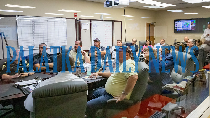 Local officials gather in the situation room at the Emergency Operations Center for a briefing on Hurrican Dorian Thursday afternoon. Fran Ruchalski/Palatka Daily News