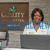 Front desk manager Damali Kelly works on her computer Tuesday morning as the Quality Inn is open for business and accepting customers during the coming of Dorian. Fran Ruchalski/Palatka Daily News