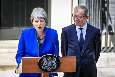 British Prime Minister Theresa May makes her farewell speech with husband Philip May by her side outside 10 Downing Street before her resignation that day, London, UK