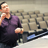 """Director Greg Shaw offers pointers to his actors as they rehearse for """"Snowflakes"""" on Wednesday at Pittsburg High School.<br /> Globe 