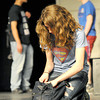 """Sarah Jewett, center, pretends not to hear the gossip taking place behind her back as Mark Weaver, left and Tanner McCauley talk about her during a Pittsburg High School rehearsal for """"Snowflakes,"""" a social-issues play centering around the distinct challenges of  autism.<br /> Globe 