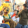"""Roary,"" The Missouri Southern mascot, visits with members of the Joplin Boys and Girls Club on Tuesday night during the MSSU and Pittsburg State baseball game. About 300 kids attended the special night dedicated to the Boys and Girls Club.<br /> Globe ""