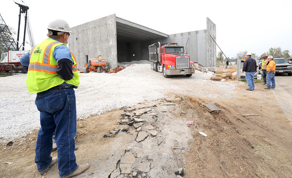 Construction continues on a new gymnasium at Kelsey Norman Elementary on Thursday.<br /> Globe | Laurie Sisk