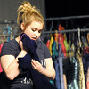 """Pittsburg High School thespian Arianna Daniels clutches firmly to a dress she wants during a Pittsburg High School rehearsal for """"Snowflakes,"""" a social-issues play centering around the distinct challenges of  autism.<br /> Globe 