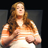 "Pittsburg High School student Ashley Hall rehearses a scene from ""Snowflakes,"" a social-issues play centering around the distinct challenges of  autism.<br /> Globe 