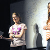 """Erin Simmons, left and Ashley Hall listen to direction from Greg Shaw  during a Pittsburg High School rehearsal for """"Snowflakes,"""" a social-issues play centering around the distinct challenges of autism.<br /> Globe 