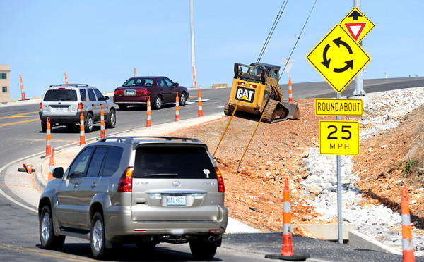 Traffic makes its way along a recent road project near I-44 and Hearnes Boulevard on Wednesday.<br /> Globe | Laurie Sisk