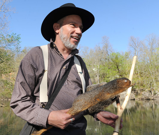 Chris Pistole portrays John James Audubon on the banks of Shoal Creek on Friday morning.<br /> Globe | Laurie Sisk